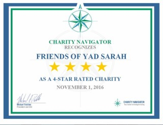 Friends of Yad Sarah awarded a 4 star rating from Charity Navigator